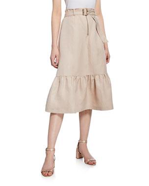ff5cae4be2 kate spade new york belted silk linen midi flounce skirt