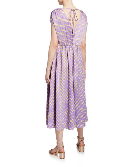 kate spade new york geo dot-printed short-sleeve satin midi dress