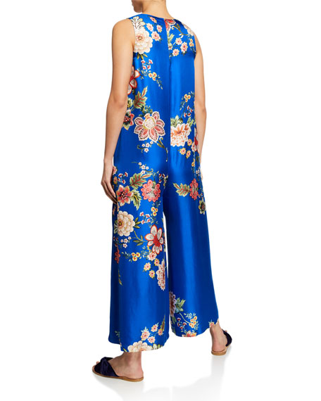 3c548736a79750 Image 3 of 3  Vivian Floral-Print Button-Front Sleeveless Silk Twill  Jumpsuit