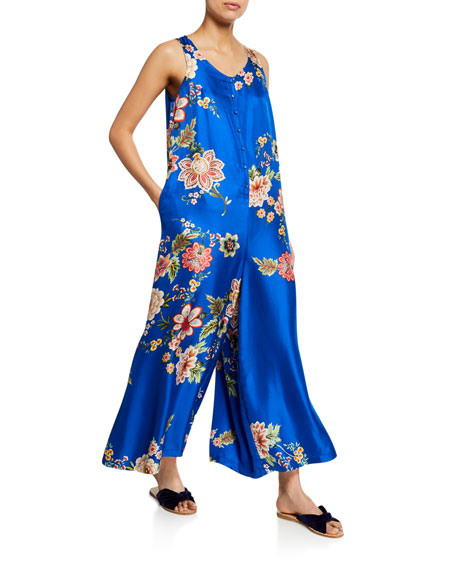 Vivian Floral-Print Button-Front Sleeveless Silk Twill Jumpsuit