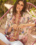 Johnny Was Paris Effortless Floral-Print Bracelet-Sleeve Linen Blouse