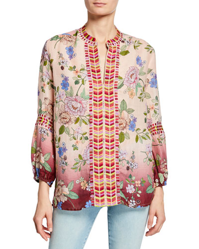 Paris Effortless Floral-Print Bracelet-Sleeve Linen Blouse