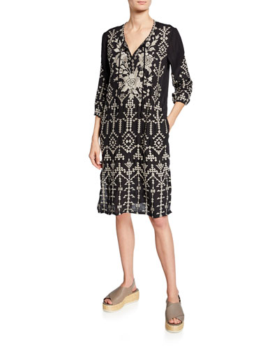 Mela Weekend Linen Embroidered Self-Tie Shift Dress