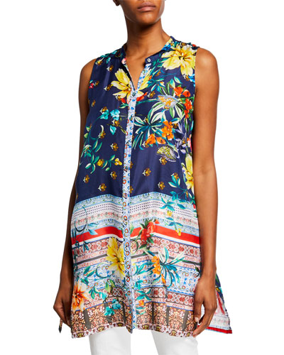 Bernie Sleeveless Button-Front Silk Georgette Tunic