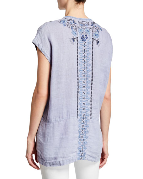 Johnny Was Rosella Button-Front Short-Sleeve Embroidered Linen Blouse
