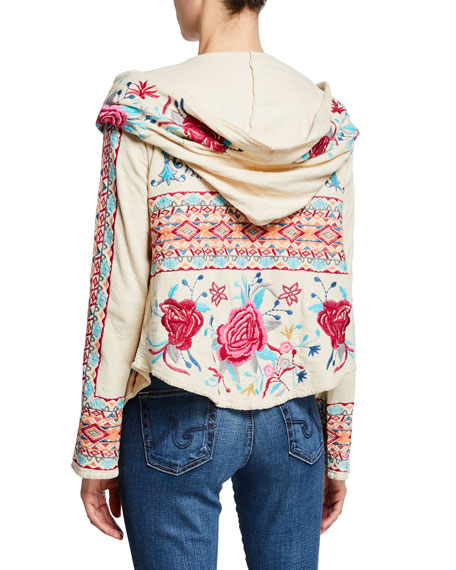 Johnny Was Malanda Embroidered Short Hoodie Jacket