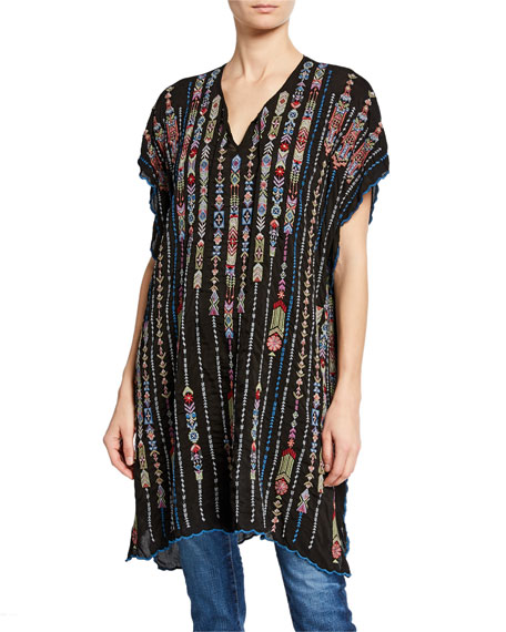 Johnny Was Plus Size Embroidered Georgette Poncho with Side Slits