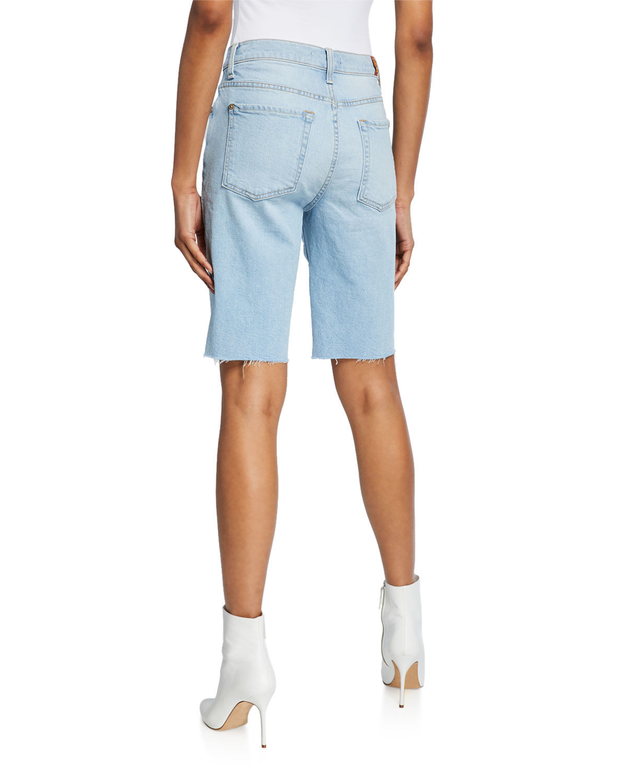 f64918e05d9 7 for all mankind High-Waist Straight Bermuda Shorts | Neiman Marcus