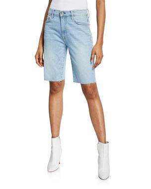 7 For All Mankind Denim Dojo Short Bermuda Shorts Womens 26 Light Faded Wash Usa Customers First Shorts