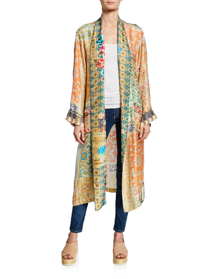 Johnny Was Prima Printed Long-Sleeve Silk Twill Robe