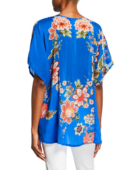 Johnny Was Zadie Floral-Print Split-Neck Short-Sleeve Georgette Top