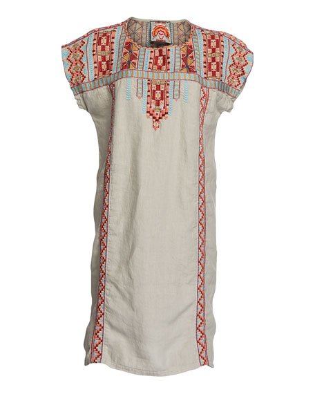 Johnny Was Plus Size Ezra Short-Sleeve Linen Tunic Dress w/ Embroidery