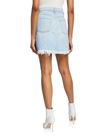 Image 2 of 3: 7 for all mankind Frayed Denim Short Skirt with Fringe