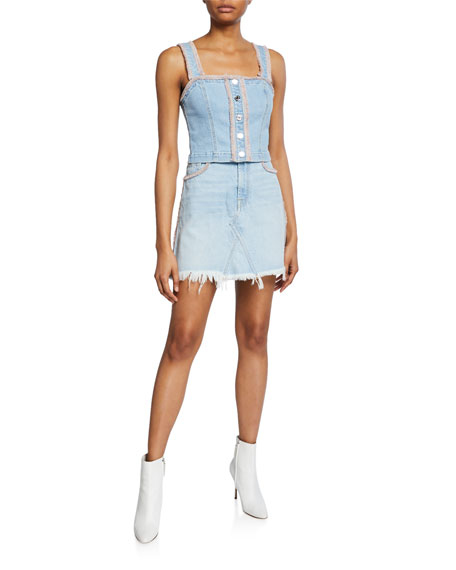 Image 3 of 3: 7 for all mankind Frayed Denim Short Skirt with Fringe