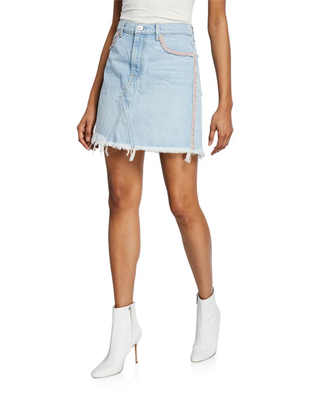 Image 1 of 3: 7 for all mankind Frayed Denim Short Skirt with Fringe