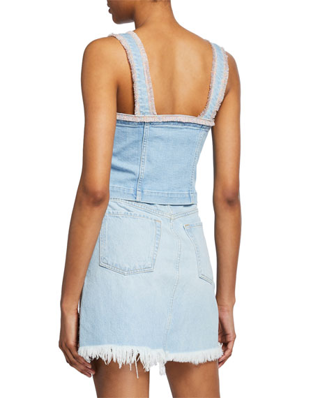 7 For All Mankind Sleeveless Denim Bustier Top