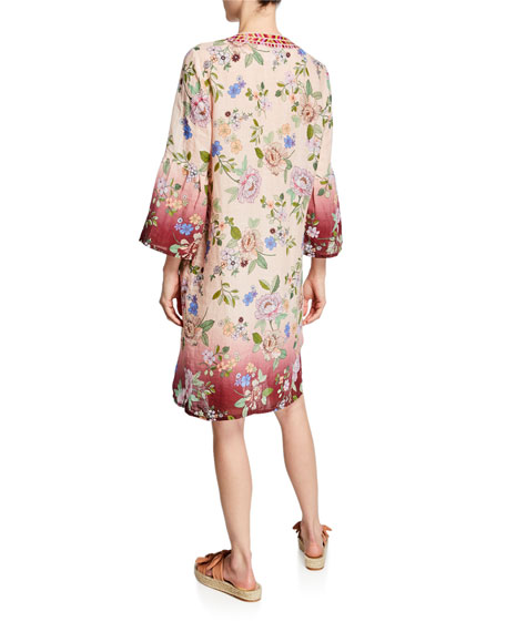 Johnny Was Floral Flare Sleeve Tunic Linen Dress Neiman