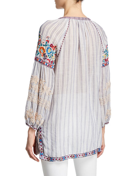 Johnny Was Allegra Striped Long-Sleeve Embroidered Peasant Blouse