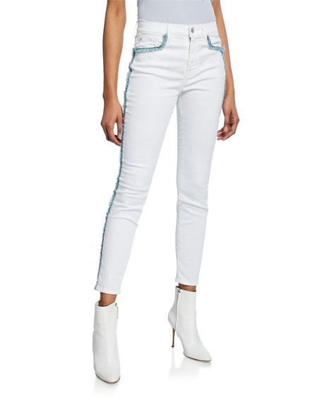 7 For All Mankind Exclusive High-Waist Skinny Ankle Jeans with Fringe