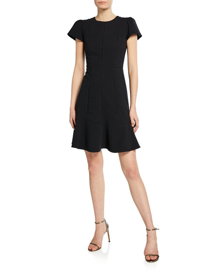 Rebecca Taylor Short-Sleeve Stretch Textured Dress
