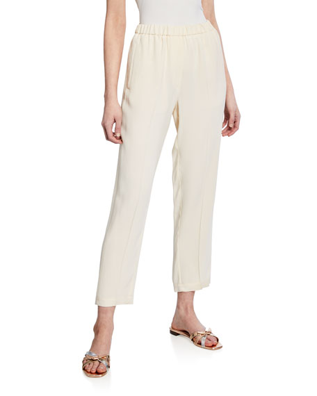 FORTE FORTE CREPE-BACK SATIN PULL-ON ELASTIC PANTS