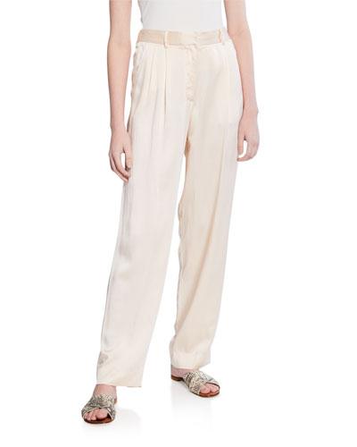 Silk Cloque Pants