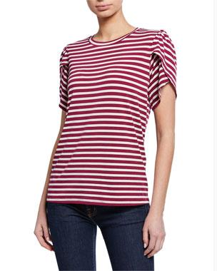 MICHAEL Michael Kors Striped Crewneck Petal-Sleeve T-Shirt