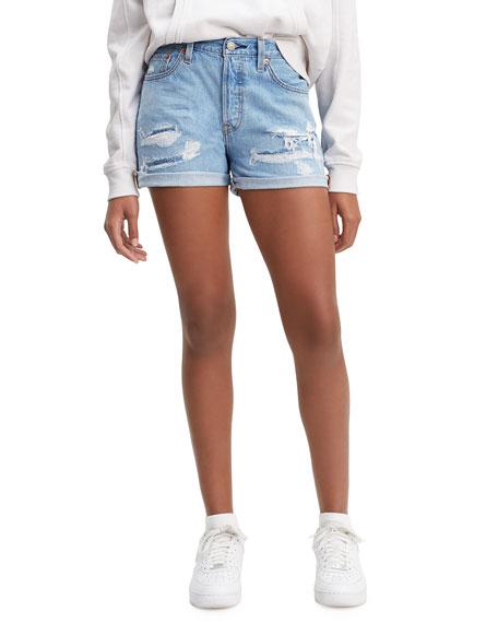 Levi's Premium 501 Distressed Roll-Cuff Shorts