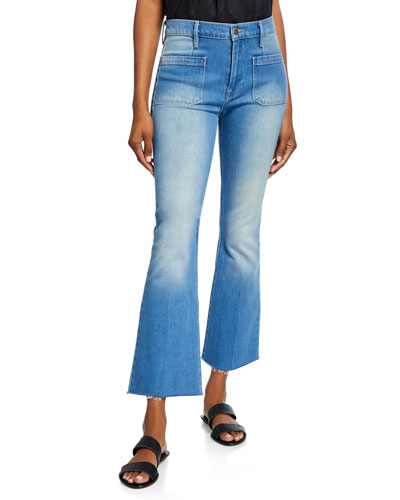 Le Bardot Crop Flare Raw-Edge Jeans