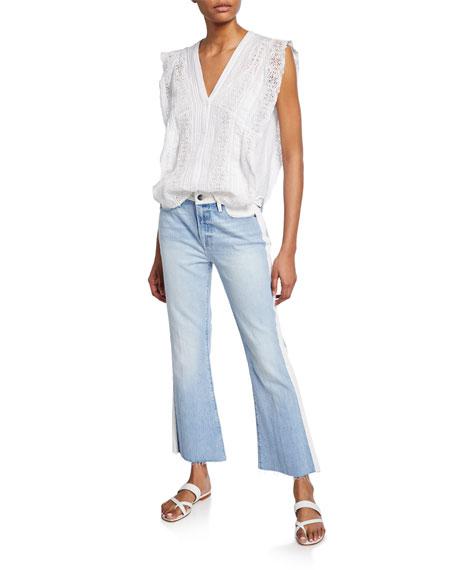 FRAME Le Crop Mini Boot-Cut Two-Tone Jeans