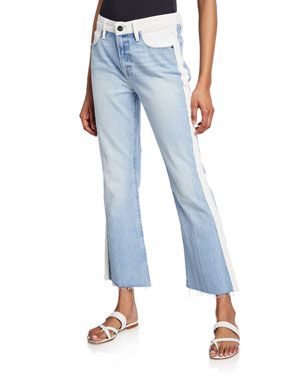 FRAME Le Crop Mini Boot-Cut Two-Tone Jeans