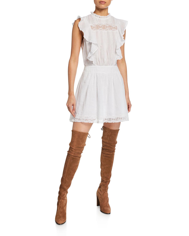 f556c77c83d FRAME Lace Pintuck Short Dress with Ruffles