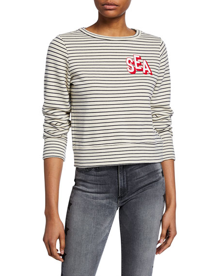 Mother T-shirts The Boat-Neck Matchbox Striped Sweatshirt
