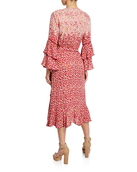 Poupette St Barth Paloma Ruffled Bell-Sleeve Dress