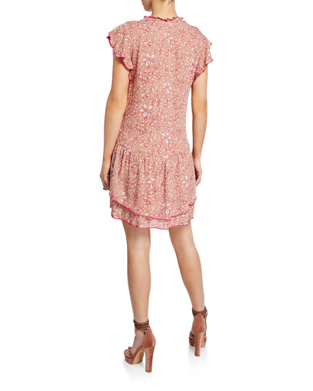 Poupette St Barth Nada Ruffled Button-Front Mini Dress