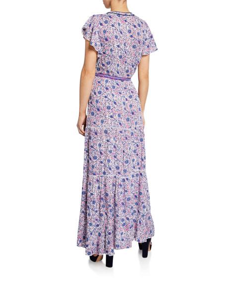 Poupette St Barth Ola Paneled Long Dress with Ties