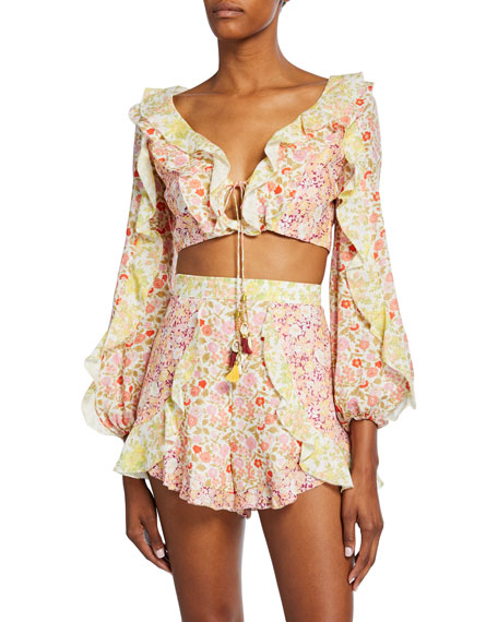 Zimmermann Goldie Splice Frill Crop Top