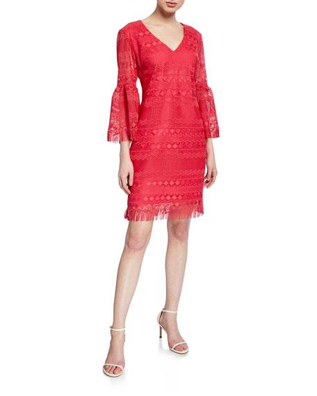 Trina Turk Keys V-Neck Bell-Sleeve Crochet Dress