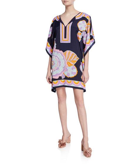 Trina Turk Theodora Floral-Print Short-Sleeve Caftan Dress