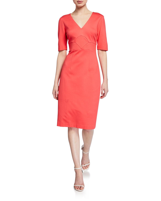 Trina Turk Ashton V-Neck Elbow-Sleeve Scuba Dress