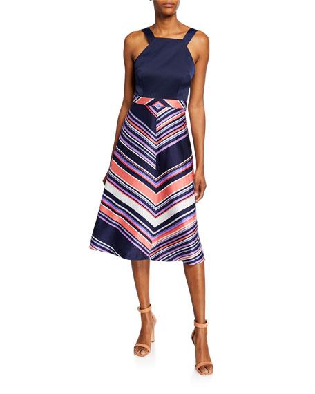 Trina Turk Arvida Chevron Stripe Halter Dress