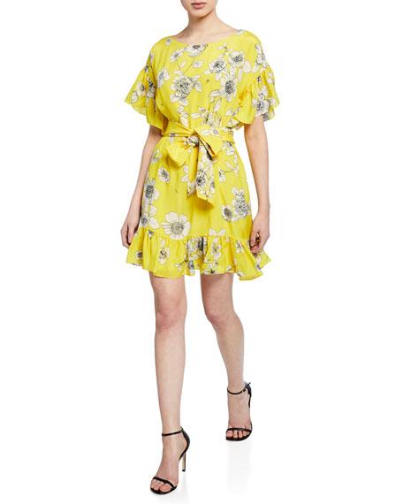 Alice + Olivia Ellamae Floral-Print Drop-Shoulder Tie-Waist Ruffle Dress