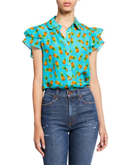 Alice + Olivia Ziggy Pineapple-Print Button-Down Ruffle Cap-Sleeve Blouse