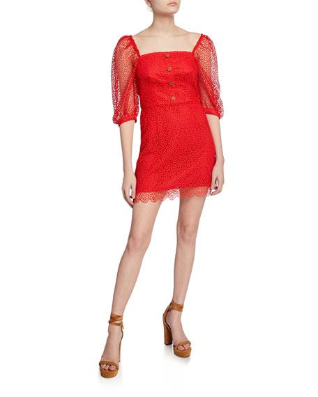La Maison Talulah Sweet Nothing Half-Sleeve Mini Lace Dress