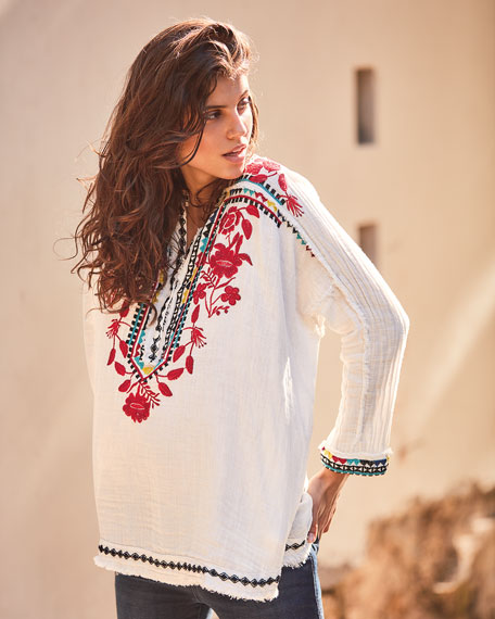 Johnny Was Petite Belvedere Long-Sleeve Embroidered Gauze Blouse