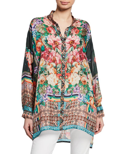 Bethia Mixed-Print Button-Front Long-Sleeve Silk Georgette Top