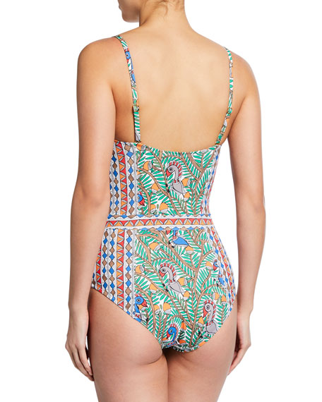 5b0859608a11b Tory Burch Bird-Print Underwire One-Piece Swimsuit | Neiman Marcus