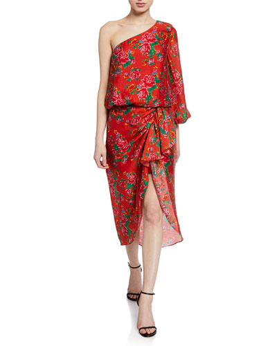 Demi Floral One-Shoulder Midi Dress