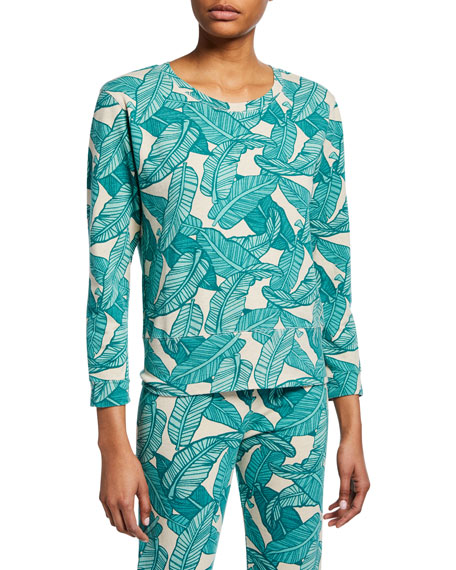 Image 1 of 2: Monrow Banana Leaf-Print Crewneck 3/4-Sleeve Sweatshirt