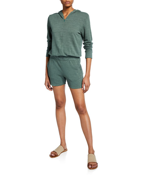 Monrow Supersoft Zip-Up Hooded Romper